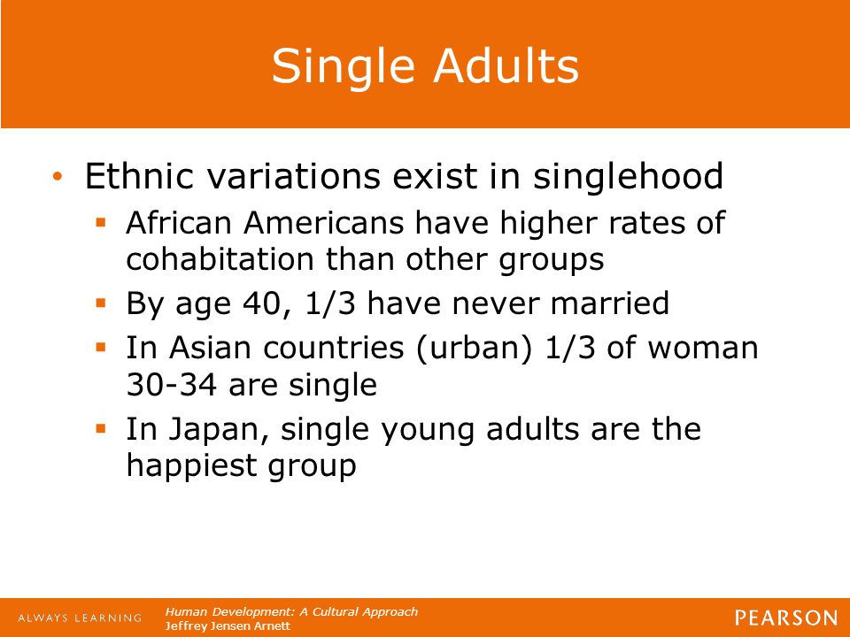 Human Development: A Cultural Approach Jeffrey Jensen Arnett Single Adults Ethnic variations exist in singlehood  African Americans have higher rates