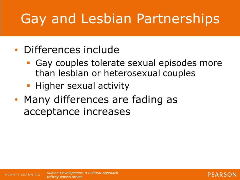 Human Development: A Cultural Approach Jeffrey Jensen Arnett Gay and Lesbian Partnerships Differences include  Gay couples tolerate sexual episodes m