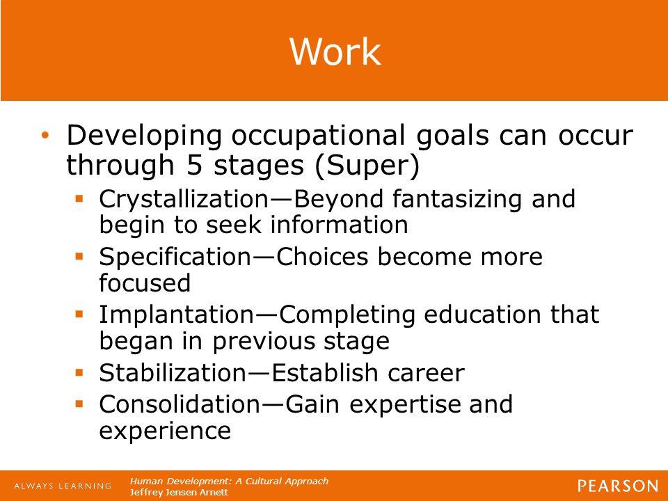 Human Development: A Cultural Approach Jeffrey Jensen Arnett Work Developing occupational goals can occur through 5 stages (Super)  Crystallization—B
