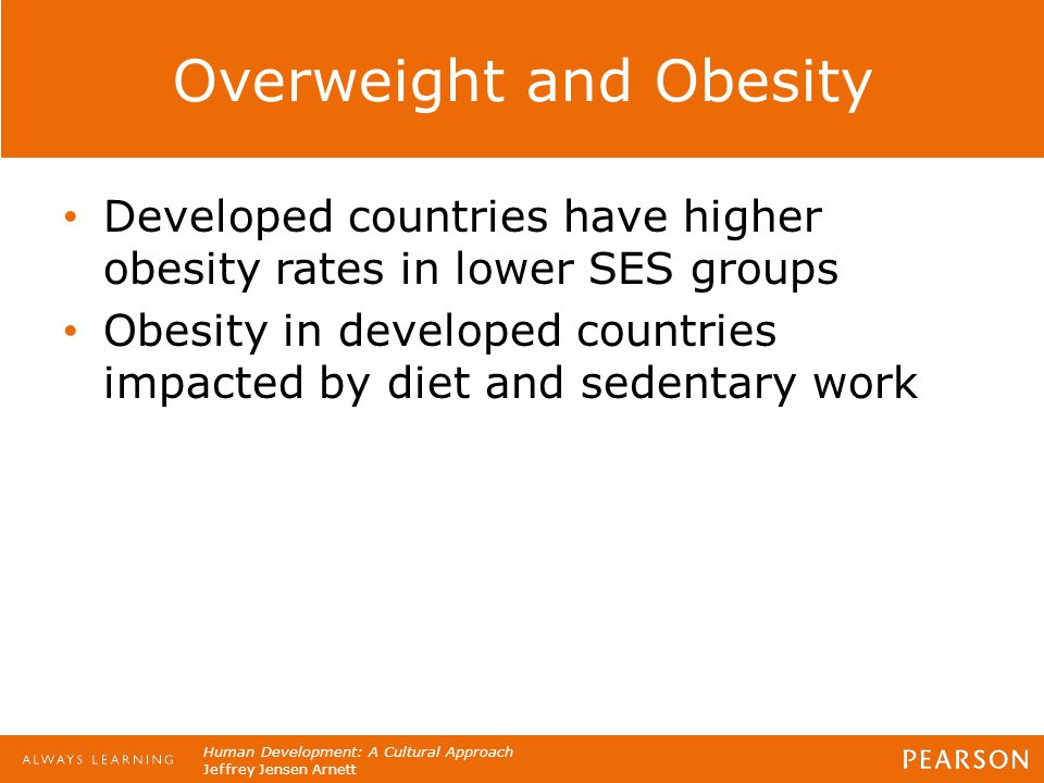 Human Development: A Cultural Approach Jeffrey Jensen Arnett Overweight and Obesity Developed countries have higher obesity rates in lower SES groups