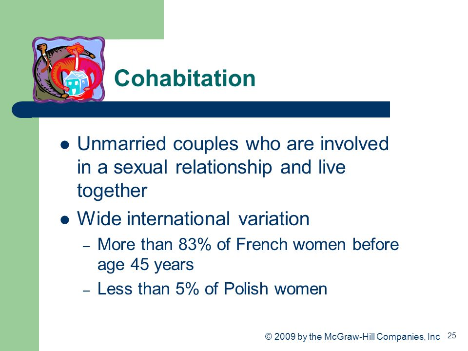25 Cohabitation Unmarried couples who are involved in a sexual relationship and live together Wide international variation – More than 83% of French w