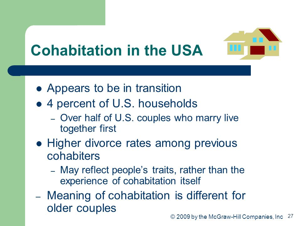 27 Cohabitation in the USA Appears to be in transition 4 percent of U.S. households – Over half of U.S. couples who marry live together first Higher d
