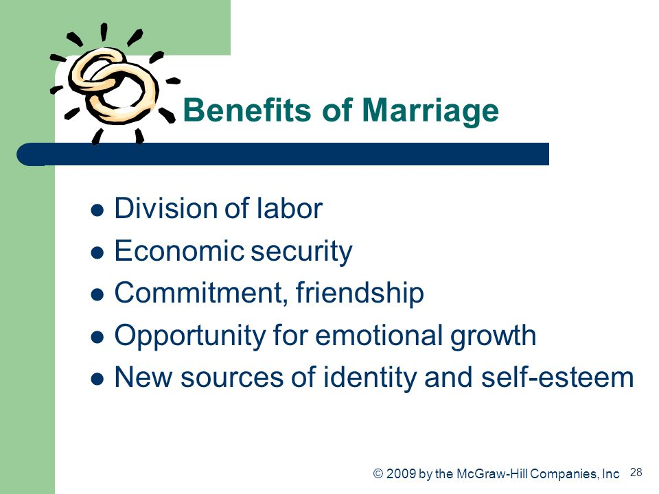 28 Benefits of Marriage Division of labor Economic security Commitment, friendship Opportunity for emotional growth New sources of identity and self-e