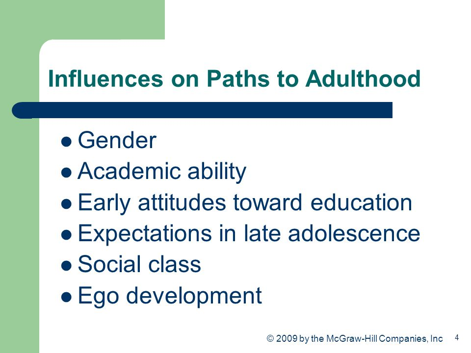 4 Influences on Paths to Adulthood Gender Academic ability Early attitudes toward education Expectations in late adolescence Social class Ego developm