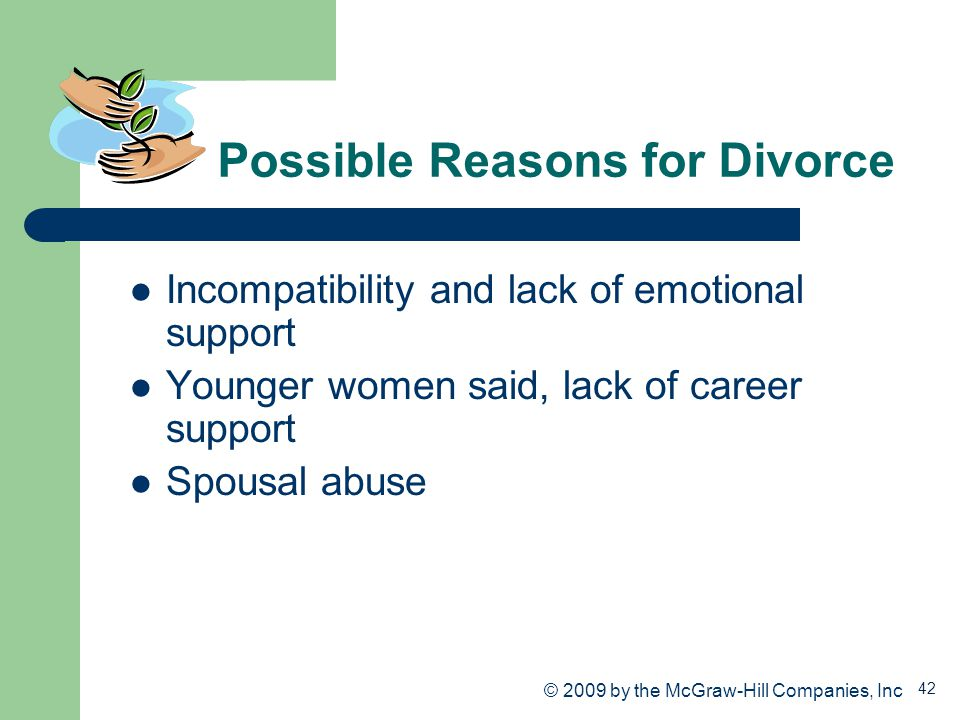 42 Possible Reasons for Divorce Incompatibility and lack of emotional support Younger women said, lack of career support Spousal abuse © 2009 by the M