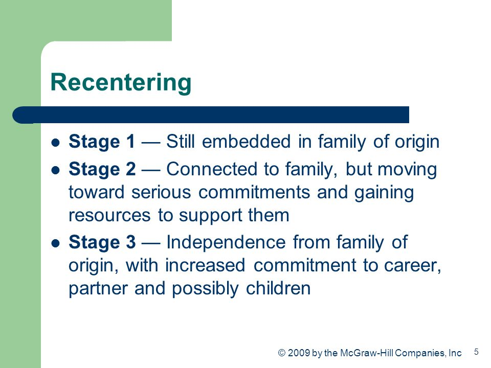 5 Recentering Stage 1 — Still embedded in family of origin Stage 2 — Connected to family, but moving toward serious commitments and gaining resources