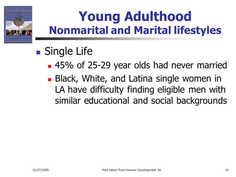 10/27/2005Part taken from Human Development 9e14 Young Adulthood Nonmarital and Marital lifestyles Single Life 45% of 25-29 year olds had never marrie