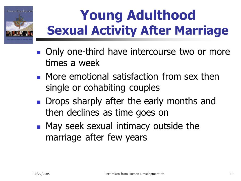 10/27/2005Part taken from Human Development 9e19 Young Adulthood Sexual Activity After Marriage Only one-third have intercourse two or more times a we