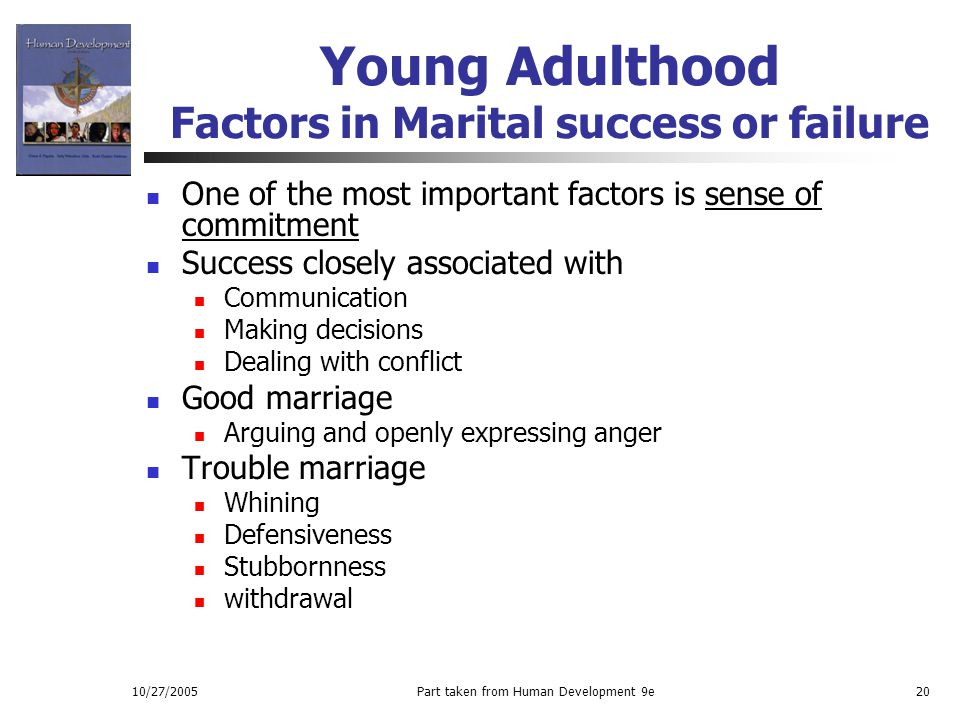 10/27/2005Part taken from Human Development 9e20 Young Adulthood Factors in Marital success or failure One of the most important factors is sense of c