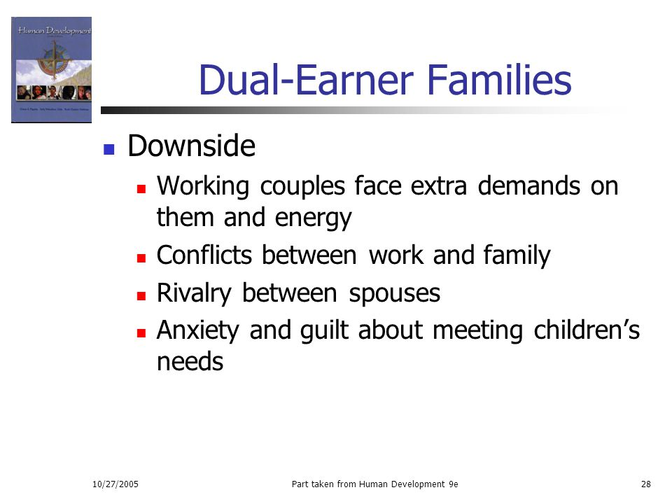 10/27/2005Part taken from Human Development 9e28 Dual-Earner Families Downside Working couples face extra demands on them and energy Conflicts between