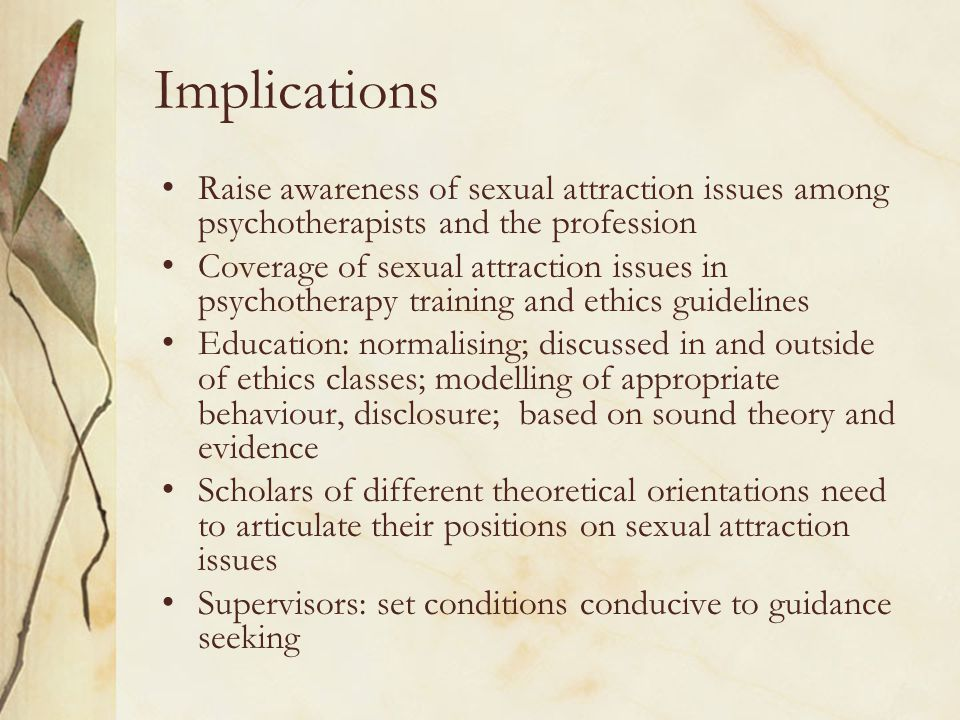 Implications Raise awareness of sexual attraction issues among psychotherapists and the profession Coverage of sexual attraction issues in psychothera