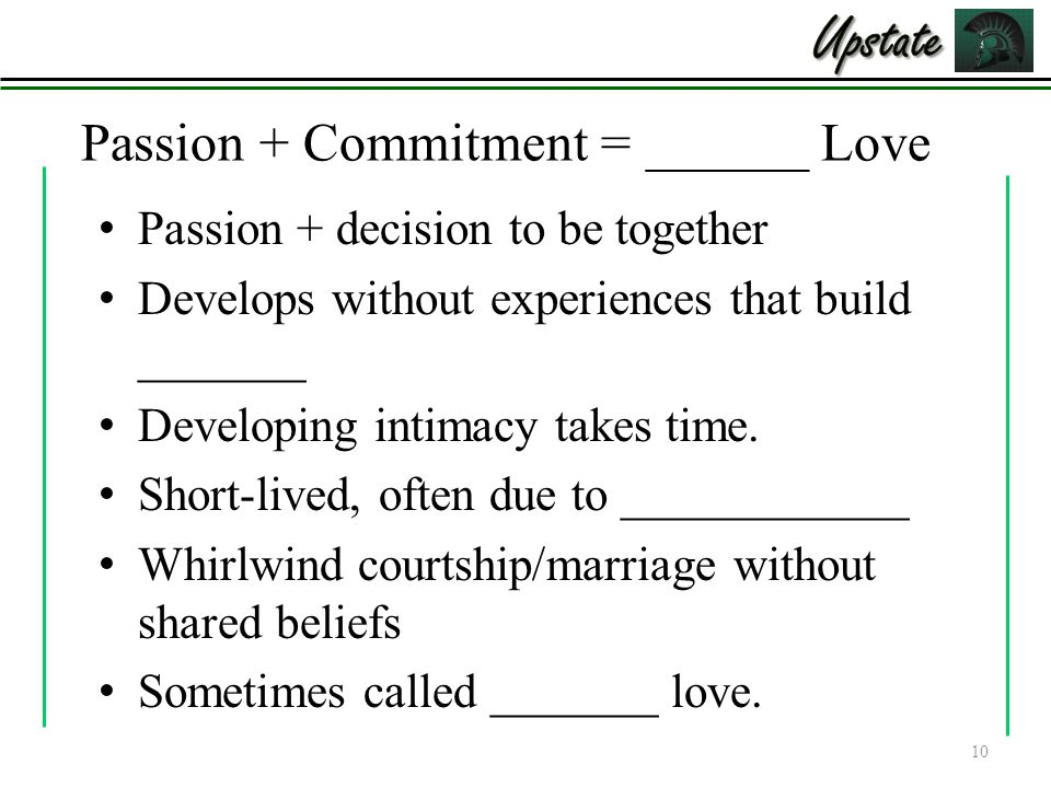 Passion + Commitment = ______ Love Passion + decision to be together Develops without experiences that build _______ Developing intimacy takes time. S