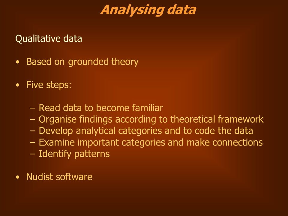 Qualitative data Based on grounded theory Five steps: –Read data to become familiar –Organise findings according to theoretical framework –Develop analytical categories and to code the data –Examine important categories and make connections –Identify patterns Nudist software Analysing data