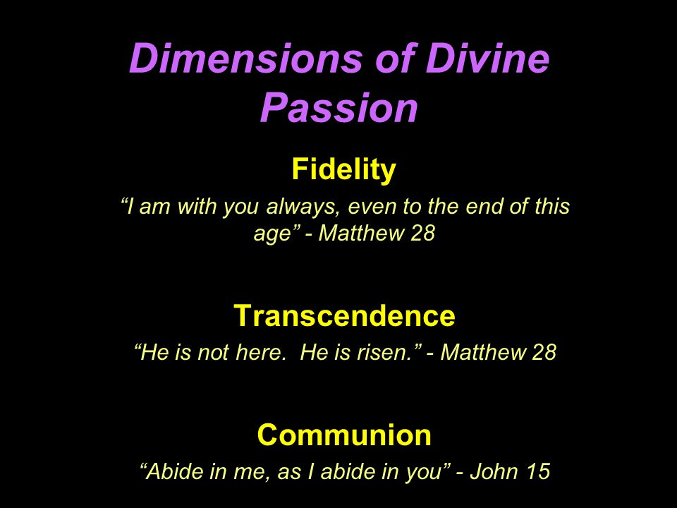 Dimensions of Divine Passion Fidelity I am with you always, even to the end of this age - Matthew 28 Transcendence He is not here.