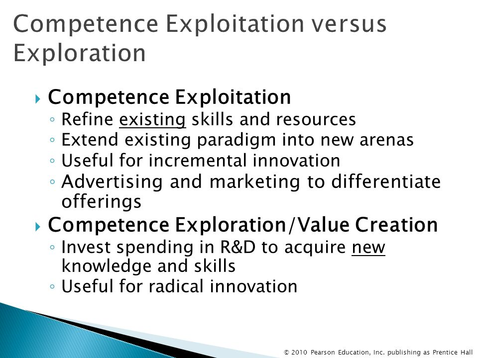 © 2010 Pearson Education, Inc. publishing as Prentice Hall  Competence Exploitation ◦ Refine existing skills and resources ◦ Extend existing paradigm