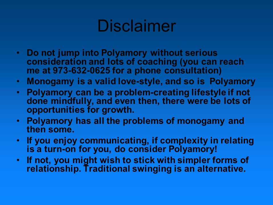 Polyamory will become Polyagony without...