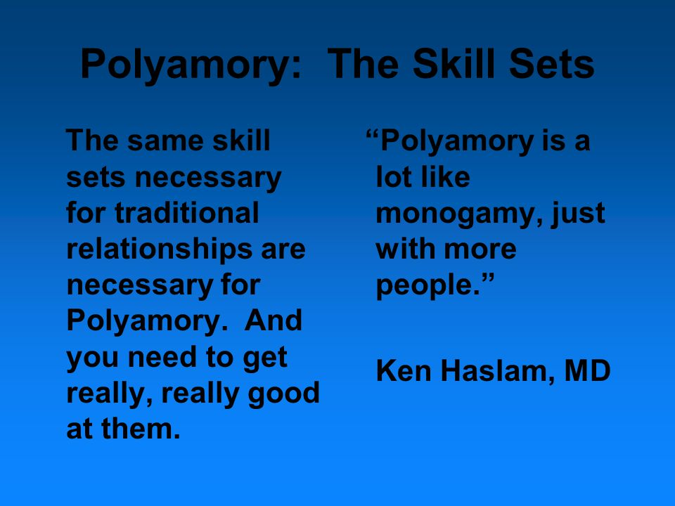 Polyamory as a theory as well as a practice Five principal outlined by Emens in Monogamy's Law 1) Self Knowledge as not only valuable, but necessary—the daily substrate of healthy relationships (Anapol).