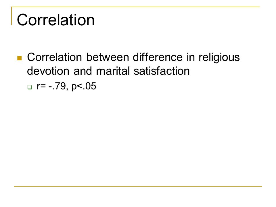 Correlation Correlation between difference in religious devotion and marital satisfaction  r= -.79, p<.05