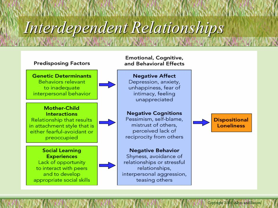 Copyright 2006, Allyn and Bacon Interdependent Relationships –Reducing loneliness Cognitive therapy (changing negative thoughts and perceptions) and social skills training (teaching people how to interact with others) help –Loneliness as a response to external factors Relocation Social Rejection—when an individual rejects another, not on the basis of what he or she has done, but on the basis of prejudice, stereotypes, and biases –Involves avoidance, disengagement, and cognitive dissociation Social Exclusion—when an entire group rejects an individual based on prejudice, stereotypes, and biases