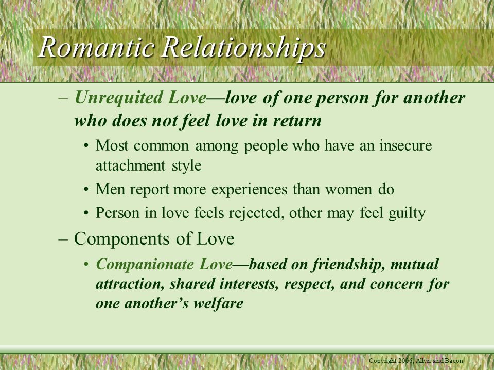 Copyright 2006, Allyn and Bacon Romantic Relationships Game playing love, possessive love, logical love, and selfless love are four other styles of love.