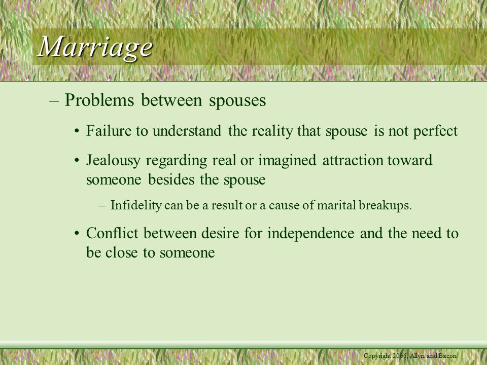 Copyright 2006, Allyn and Bacon Marriage –Dealing with marital problems Best to use a constructive style that focuses on the topic being discussed and attempts to resolve conflict Negative styles include avoidance, lashing out against the partner, criticizing the partner, avoiding responsibility, and asking hostile questions –Men tend to practice avoidance Consider the long-term consequences of what is said and done during conflicts –Create positive rather than negative affect
