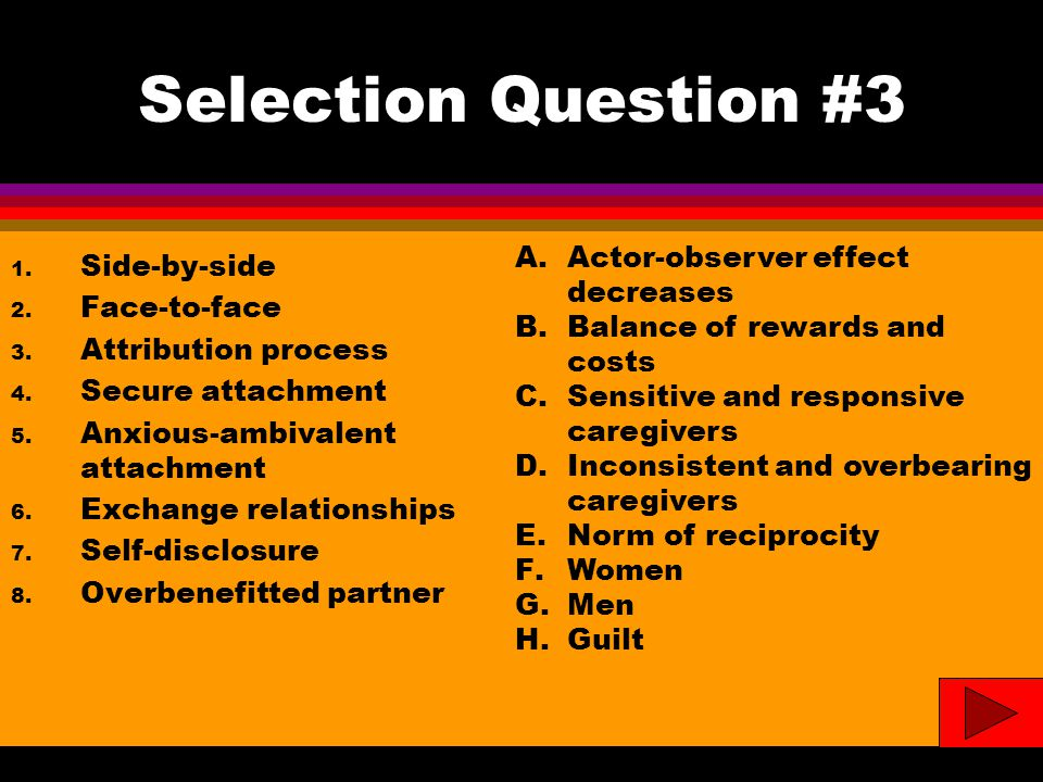 Selection Question #3 1. Side-by-side 2. Face-to-face 3.