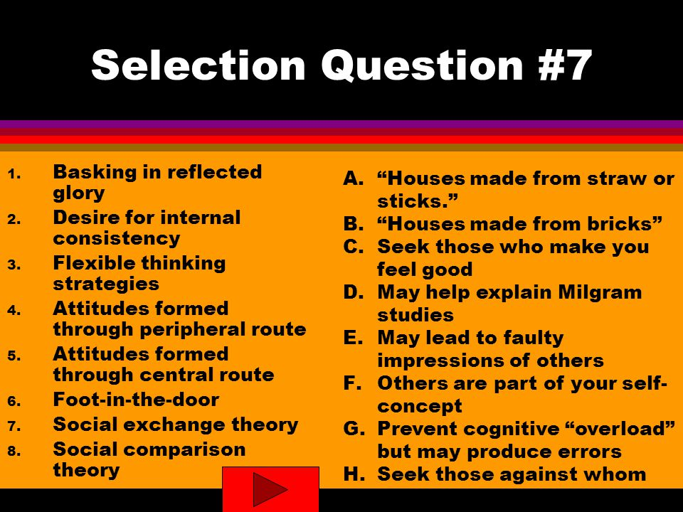 Selection Question #7 1. Basking in reflected glory 2.