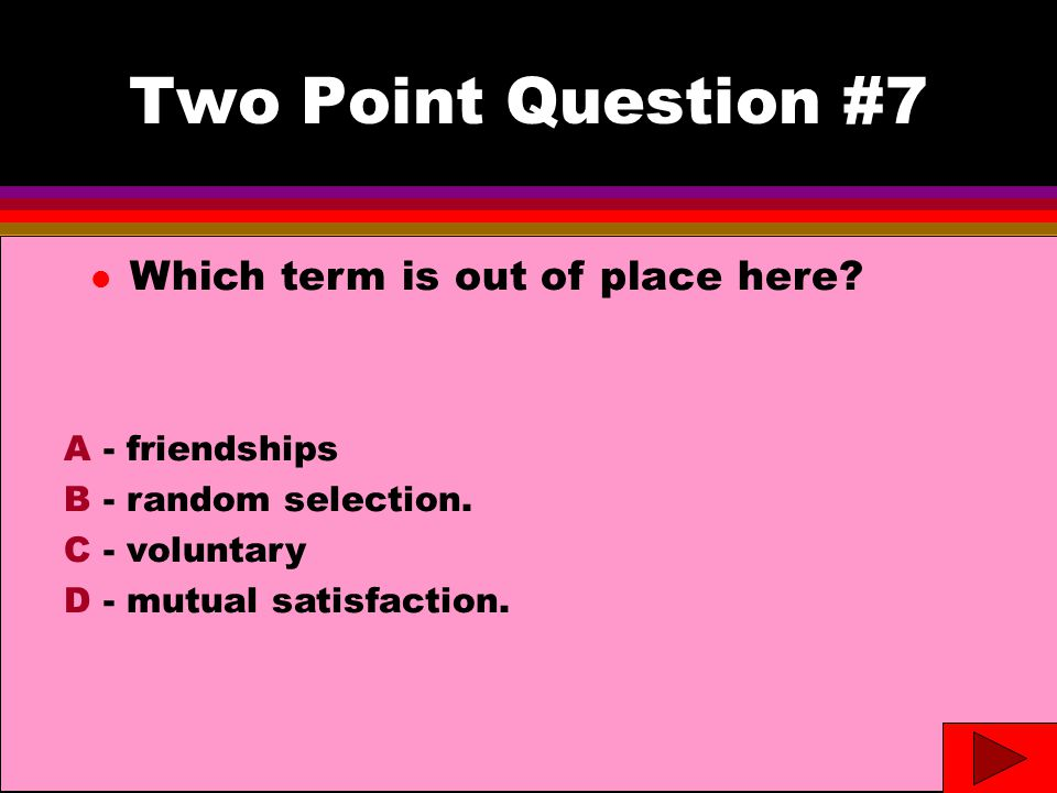 Two Point Question #7 l Which term is out of place here.
