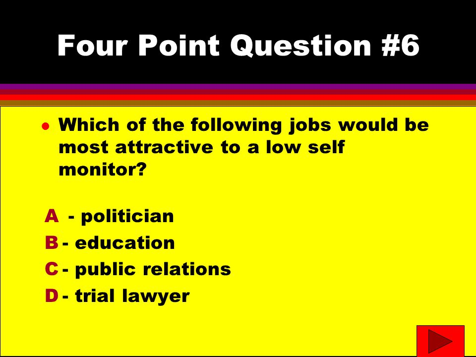 Four Point Question #6 l Which of the following jobs would be most attractive to a low self monitor.