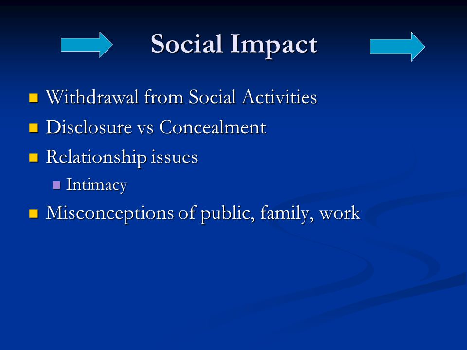 Social Impact Withdrawal from Social Activities Withdrawal from Social Activities Disclosure vs Concealment Disclosure vs Concealment Relationship issues Relationship issues Intimacy Intimacy Misconceptions of public, family, work Misconceptions of public, family, work