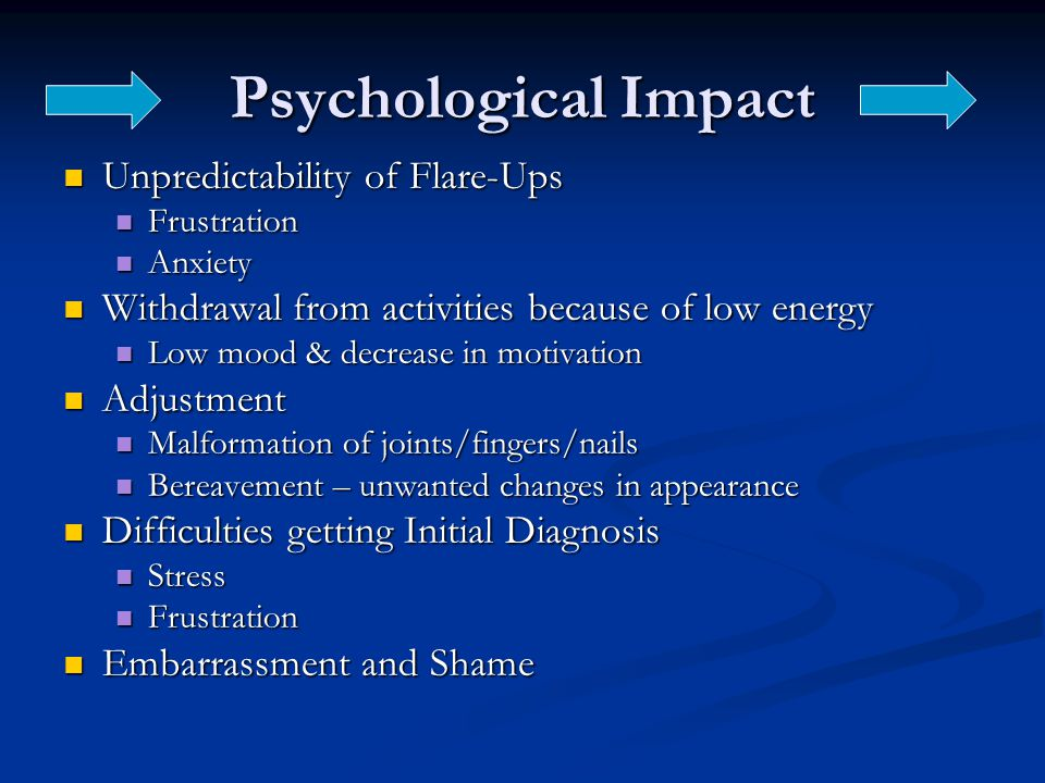 Psychological Impact Unpredictability of Flare-Ups Unpredictability of Flare-Ups Frustration Frustration Anxiety Anxiety Withdrawal from activities because of low energy Withdrawal from activities because of low energy Low mood & decrease in motivation Low mood & decrease in motivation Adjustment Adjustment Malformation of joints/fingers/nails Malformation of joints/fingers/nails Bereavement – unwanted changes in appearance Bereavement – unwanted changes in appearance Difficulties getting Initial Diagnosis Difficulties getting Initial Diagnosis Stress Stress Frustration Frustration Embarrassment and Shame Embarrassment and Shame