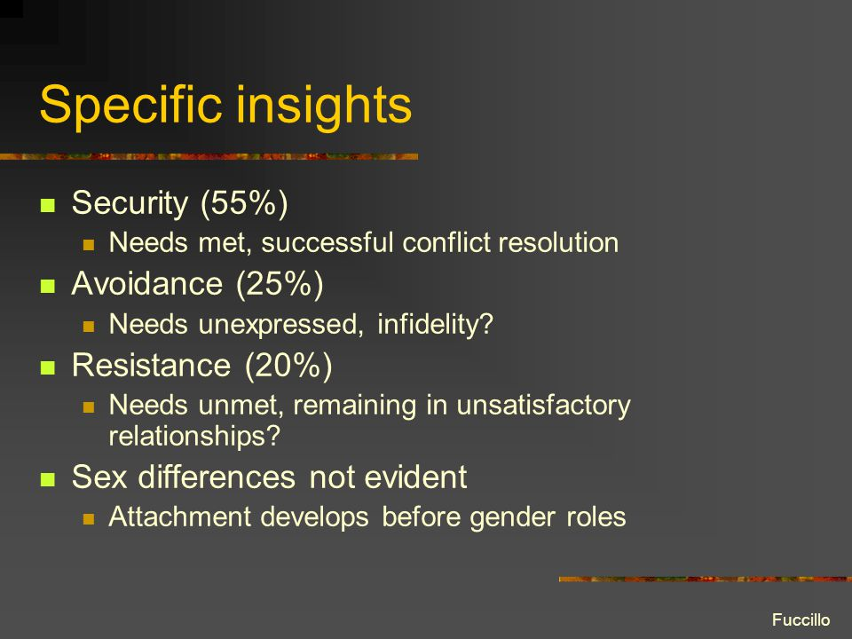 Specific insights Security (55%) Needs met, successful conflict resolution Avoidance (25%) Needs unexpressed, infidelity.