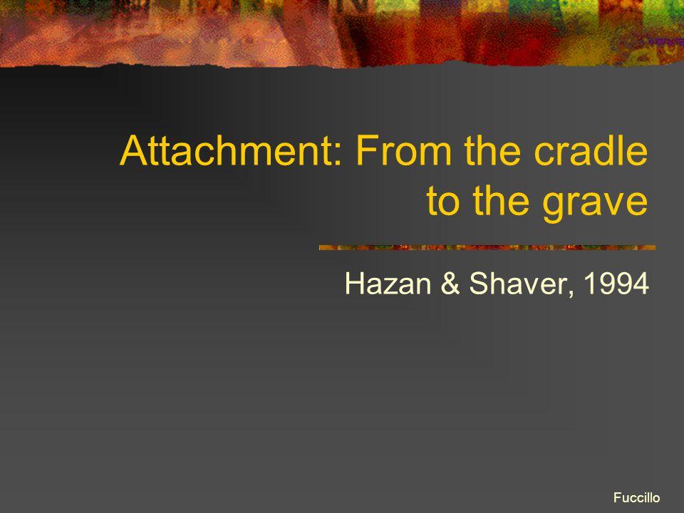 Attachment: From the cradle to the grave Hazan & Shaver, 1994 Fuccillo