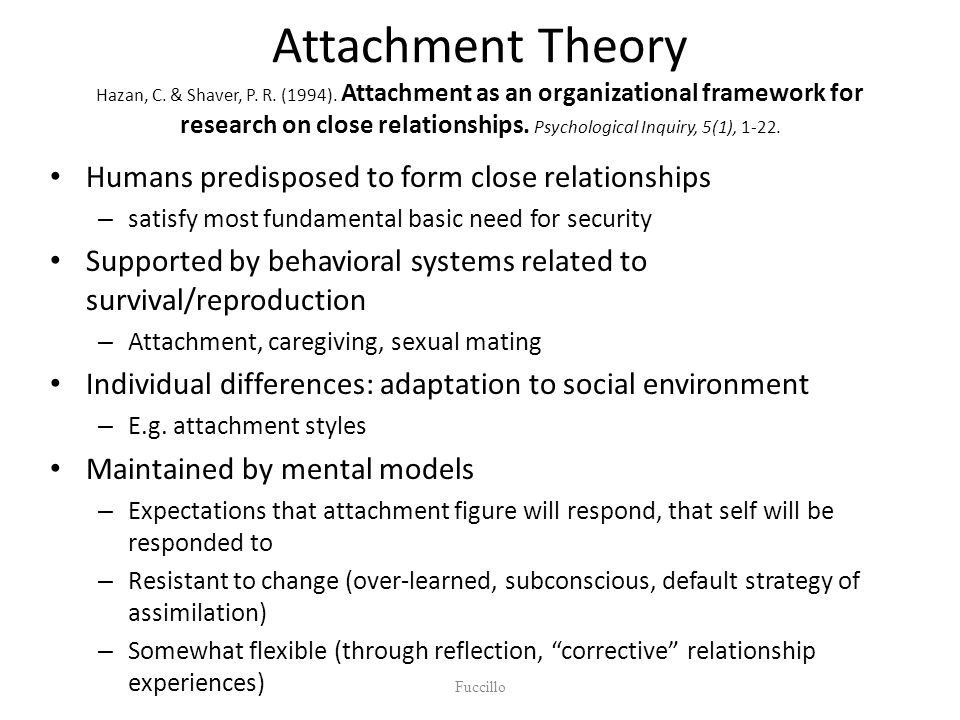 Attachment Theory Hazan, C. & Shaver, P. R. (1994).