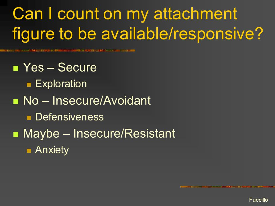 Can I count on my attachment figure to be available/responsive.