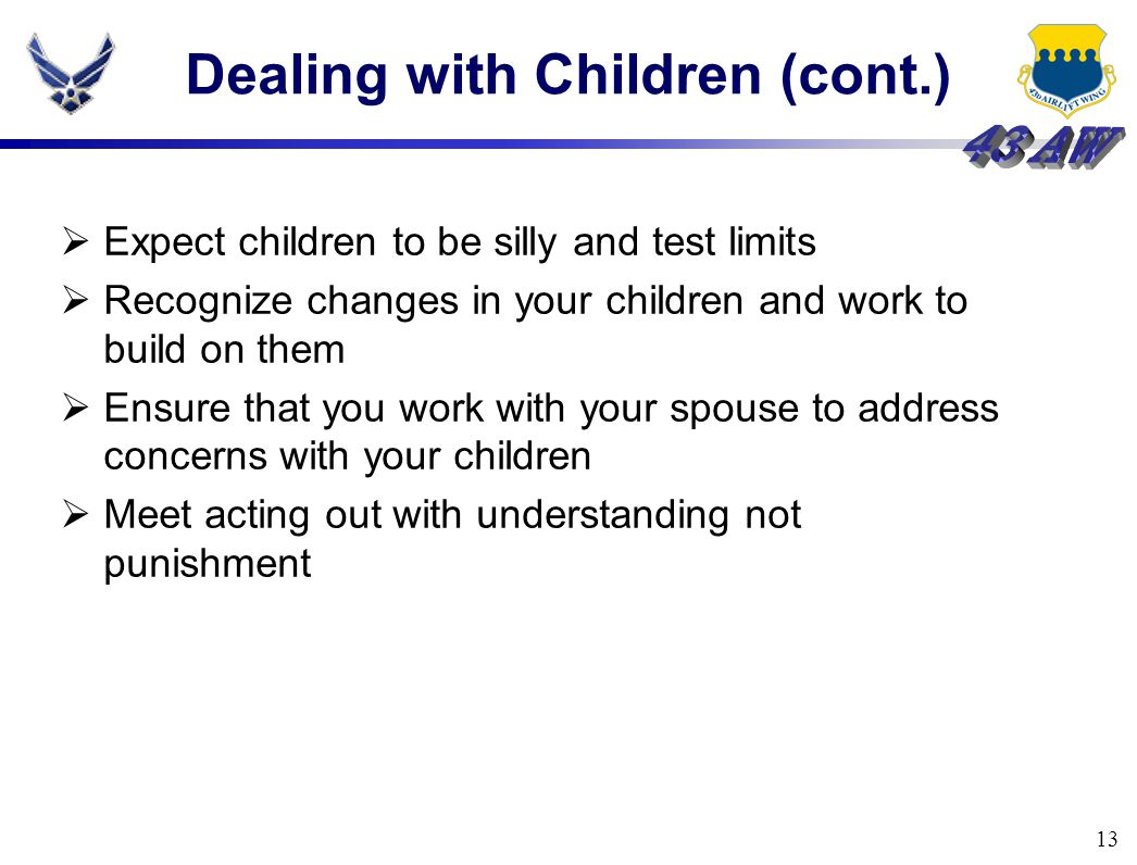 13 Dealing with Children (cont.)  Expect children to be silly and test limits  Recognize changes in your children and work to build on them  Ensure