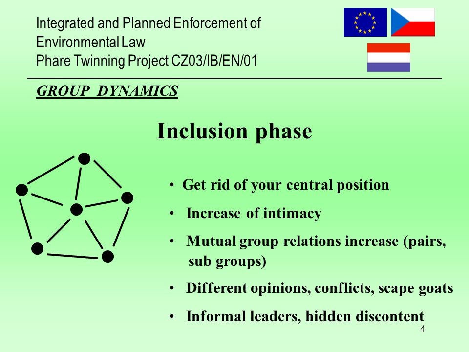Integrated and Planned Enforcement of Environmental Law Phare Twinning Project CZ03/IB/EN/01 4 GROUP DYNAMICS Inclusion phase Get rid of your central position Increase of intimacy Mutual group relations increase (pairs, sub groups) Different opinions, conflicts, scape goats Informal leaders, hidden discontent