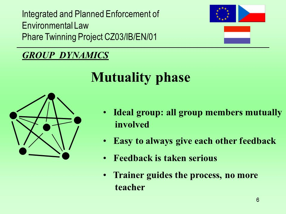 Integrated and Planned Enforcement of Environmental Law Phare Twinning Project CZ03/IB/EN/01 6 GROUP DYNAMICS Mutuality phase Ideal group: all group members mutually involved Easy to always give each other feedback Feedback is taken serious Trainer guides the process, no more teacher