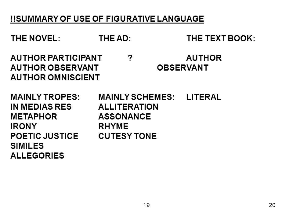 1920 !!SUMMARY OF USE OF FIGURATIVE LANGUAGE THE NOVEL:THE AD:THE TEXT BOOK: AUTHOR PARTICIPANT AUTHOR AUTHOR OBSERVANTOBSERVANT AUTHOR OMNISCIENT MAINLY TROPES:MAINLY SCHEMES:LITERAL IN MEDIAS RESALLITERATION METAPHORASSONANCE IRONYRHYME POETIC JUSTICECUTESY TONE SIMILES ALLEGORIES