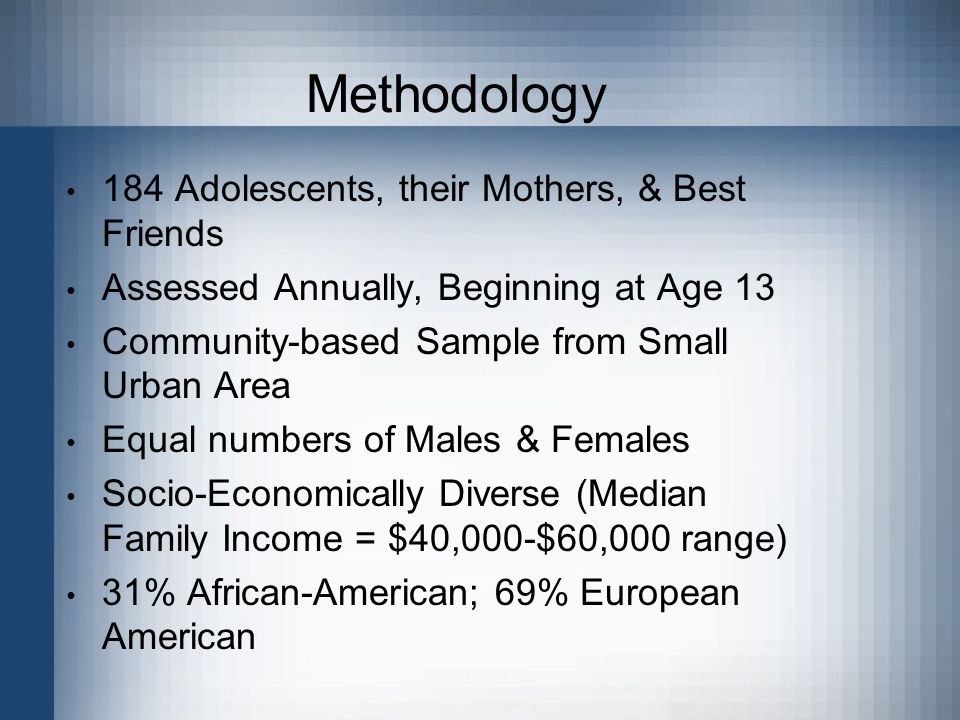 Methodology 184 Adolescents, their Mothers, & Best Friends Assessed Annually, Beginning at Age 13 Community-based Sample from Small Urban Area Equal n
