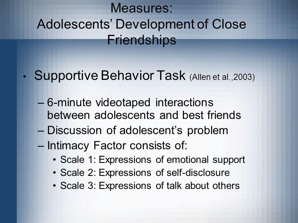 Measures: Adolescents' Development of Close Friendships Supportive Behavior Task (Allen et al.,2003) –6-minute videotaped interactions between adolesc