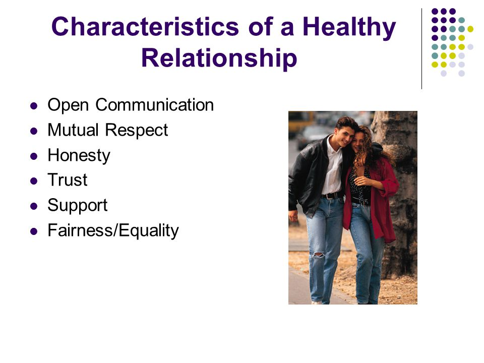 Characteristics of a Healthy Relationship Open Communication Mutual Respect Honesty Trust Support Fairness/Equality
