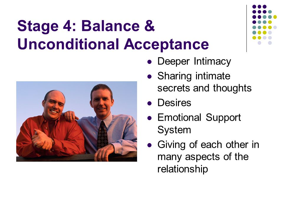 Stage 4: Balance & Unconditional Acceptance Deeper Intimacy Sharing intimate secrets and thoughts Desires Emotional Support System Giving of each other in many aspects of the relationship