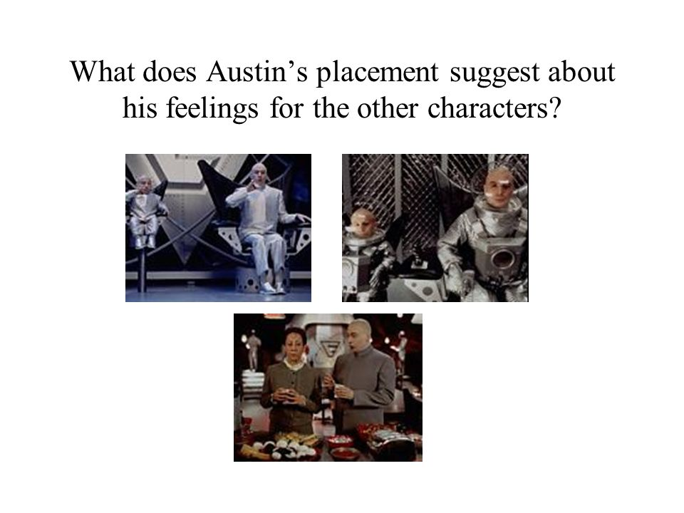 What does Austin's placement suggest about his feelings for the other characters?