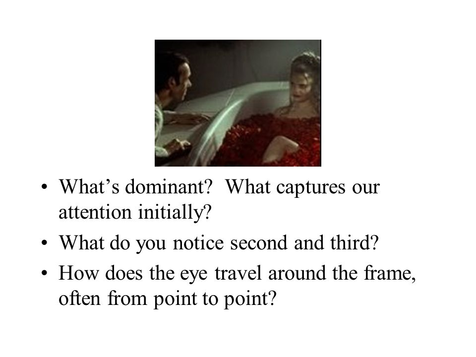 What's dominant? What captures our attention initially? What do you notice second and third? How does the eye travel around the frame, often from poin