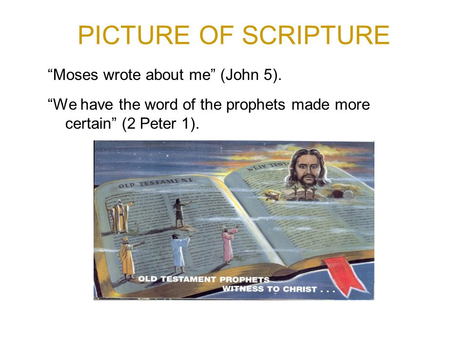 PICTURE OF SCRIPTURE Moses wrote about me (John 5).