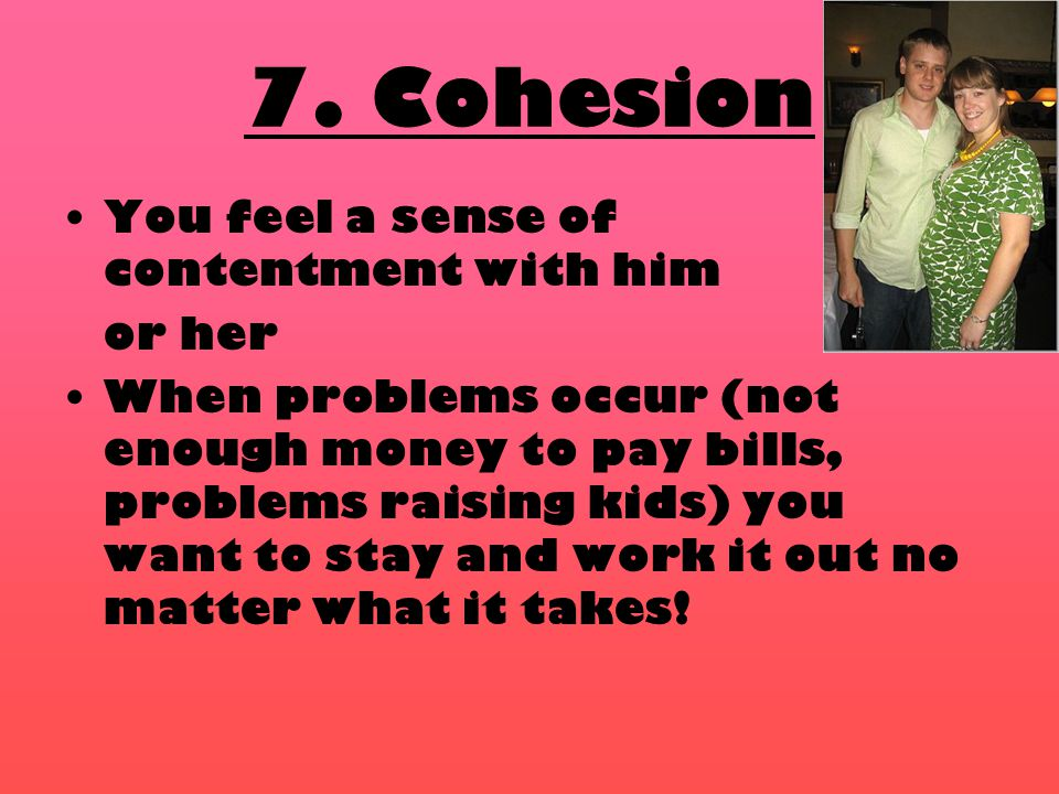 7. Cohesion You feel a sense of contentment with him or her When problems occur (not enough money to pay bills, problems raising kids) you want to sta