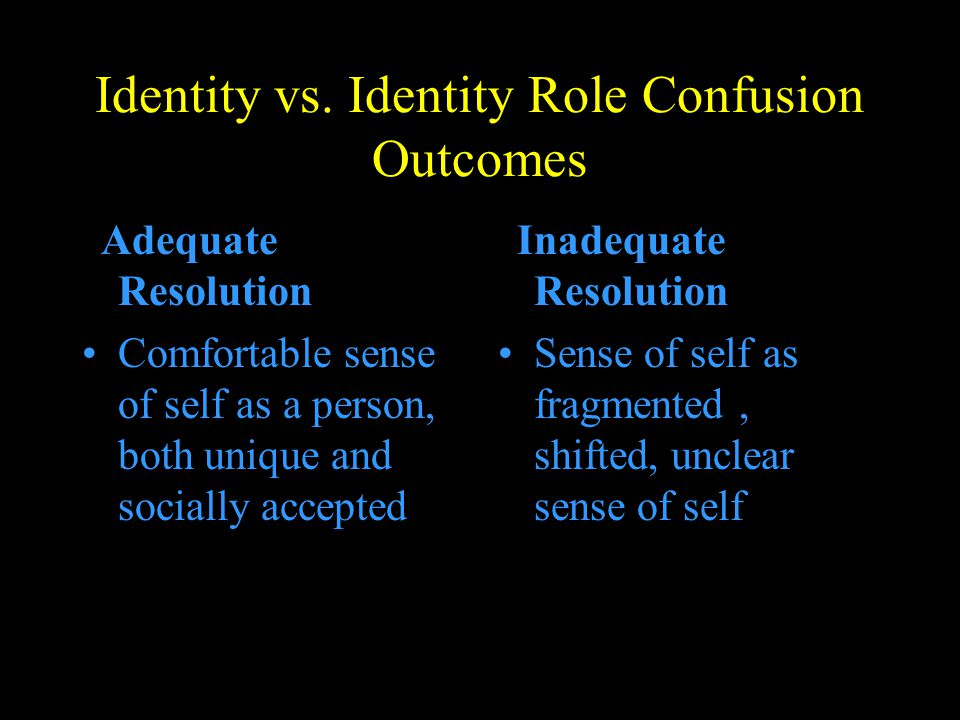 Identity vs. Identity Role Confusion Outcomes Adequate Resolution Comfortable sense of self as a person, both unique and socially accepted Inadequate