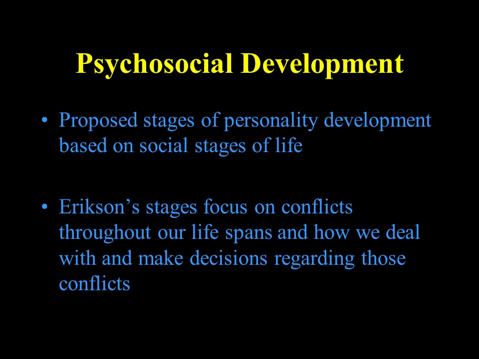 The Stages of Development Each is labeled according to possible outcomes, which are opposites Resolution of each stage is extremely important Erikson assumed most people would end up with a blending of the outcomes of these stages Erikson said the goal of adolescence was to attain ego identity, or a firm sense of what one stands for.