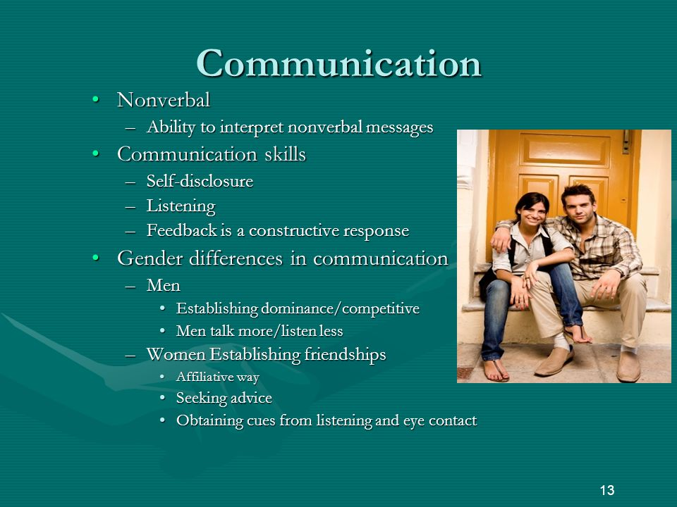 Communication NonverbalNonverbal –Ability to interpret nonverbal messages Communication skillsCommunication skills –Self-disclosure –Listening –Feedback is a constructive response Gender differences in communicationGender differences in communication –Men Establishing dominance/competitiveEstablishing dominance/competitive Men talk more/listen lessMen talk more/listen less –Women Establishing friendships Affiliative wayAffiliative way Seeking adviceSeeking advice Obtaining cues from listening and eye contactObtaining cues from listening and eye contact 13